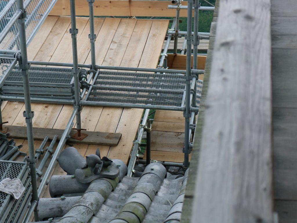 工事中の足場が見れる